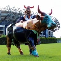 Chris and the Tartan Army cow outside Murrayfield Stadium