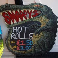 Interior signage at Snappy's cafe in Edinburgh.