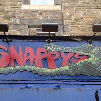 Shopfront signage at Snappy's cafe in Edinburgh.