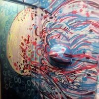 Spray work in the women's bathroom at the Oz Bar in Edinburgh.