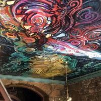 Spray work on the ceiling of the Oz Bar in Edinburgh.