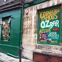 Custom branded signage outside the Oz Bar in Edinburgh.