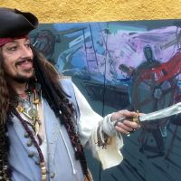 """Jack Sparrow"", aka Eddie Lee Sampson of the Clanranald Trust for Scotland, posing for the Culross Pirates"
