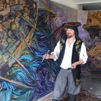 Chris working on the Boarding Party pirate mural in the studio at St. Margaret's House in Edinburgh in early 2016.