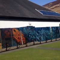The Tam o'Shanter mural installed at the Arran distillery in Lochranza.