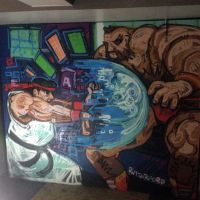 Video game mural in the Three Sisters bar in Edinburgh.