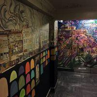 Spray work & acrylic mural in the Three Sisters bar in Edinburgh.