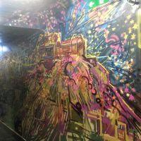 Spray work Edinburgh Castle mural in the Three Sisters bar in Edinburgh.