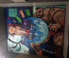 Video game mural in the Three Sisters bar in Edinburgh.