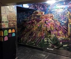 Spray work mural in the Three Sisters bar in Edinburgh.