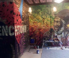 Custom murals and signage in the party room at Trenchtown Caribbean Social Club restaurant in Edinburgh, 2017.