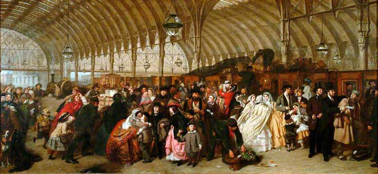 Frith, William Powell; The Railway Station; Royal Holloway, University of London; http://www.artuk.org/artworks/the-railway-station-12825