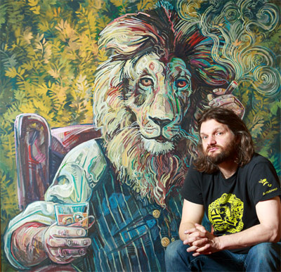 Chris with Lion painting