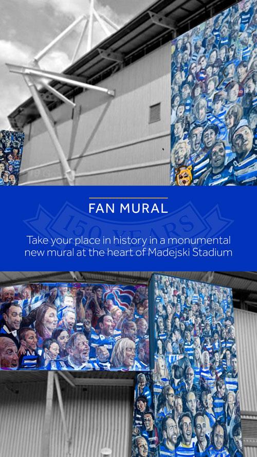 Reading FC 150th anniversary fan mural portrait buy-in